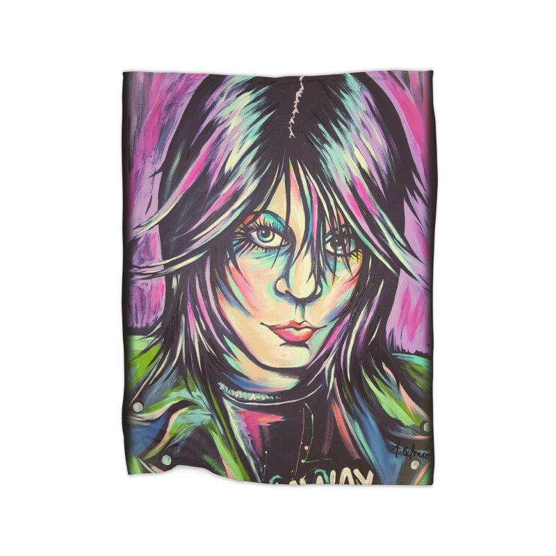 Joan Jett Home Fleece Blanket Blanket by amybelonio's Artist Shop
