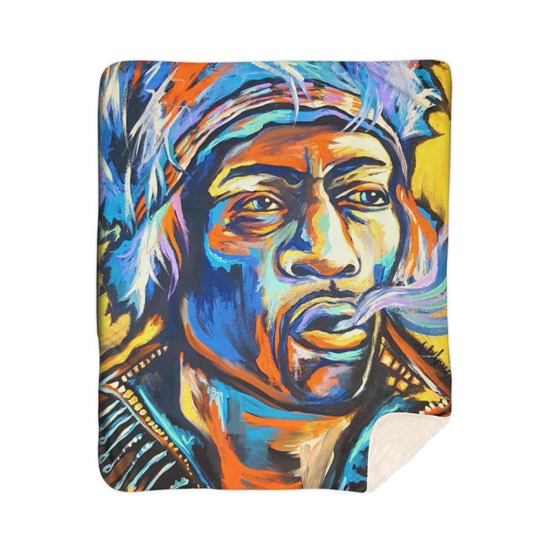 Jimi Hendrix Home Sherpa Blanket Blanket by amybelonio's Artist Shop