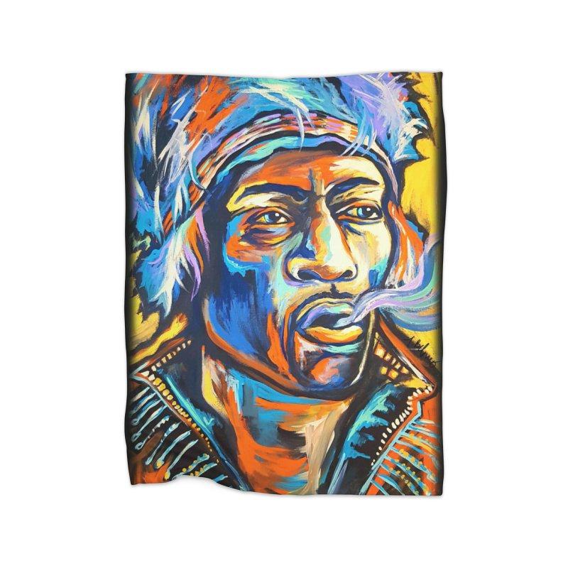 Jimi Hendrix Home Fleece Blanket Blanket by amybelonio's Artist Shop