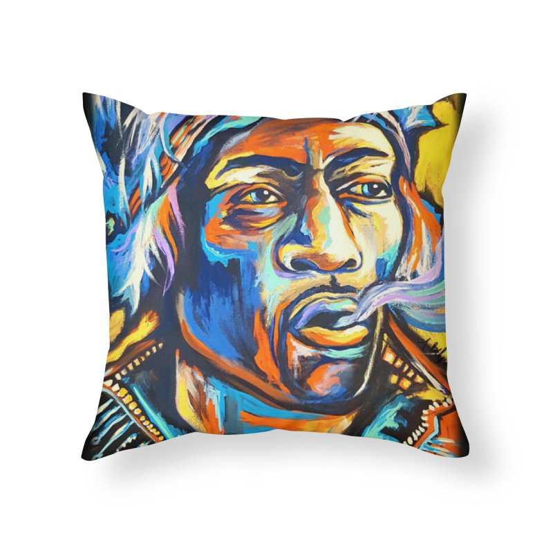 Jimi Hendrix Home Throw Pillow by amybelonio's Artist Shop