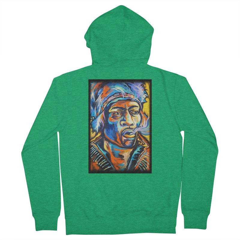 Jimi Hendrix Women's French Terry Zip-Up Hoody by amybelonio's Artist Shop