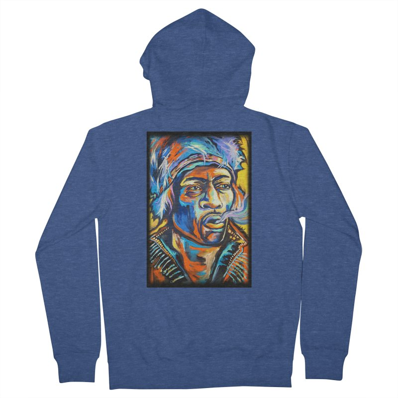 Jimi Hendrix Women's French Terry Zip-Up Hoody by amybelonio's Artist Shop