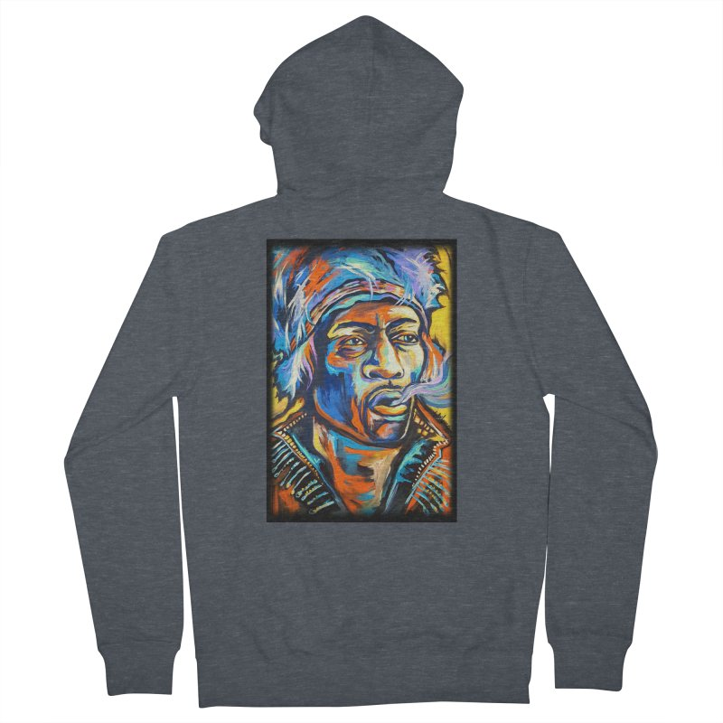 Jimi Hendrix Men's French Terry Zip-Up Hoody by amybelonio's Artist Shop