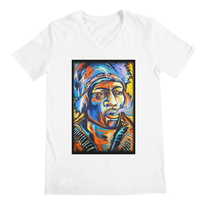 Jimi Hendrix Men's V-Neck by amybelonio's Artist Shop