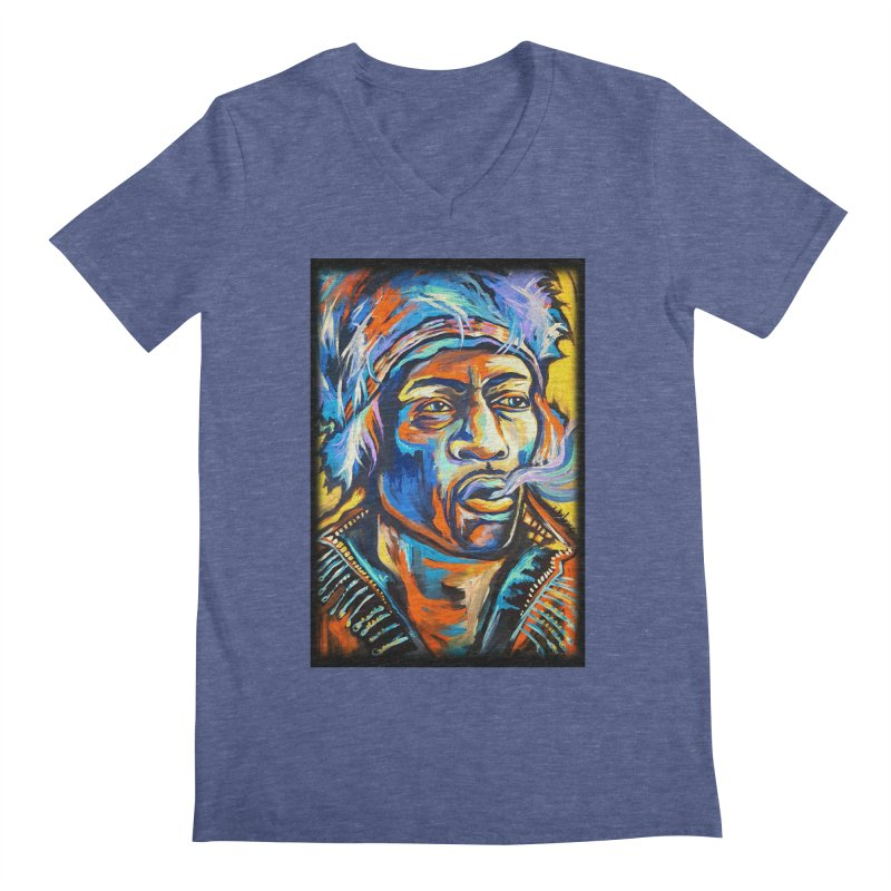 Jimi Hendrix Men's Regular V-Neck by amybelonio's Artist Shop