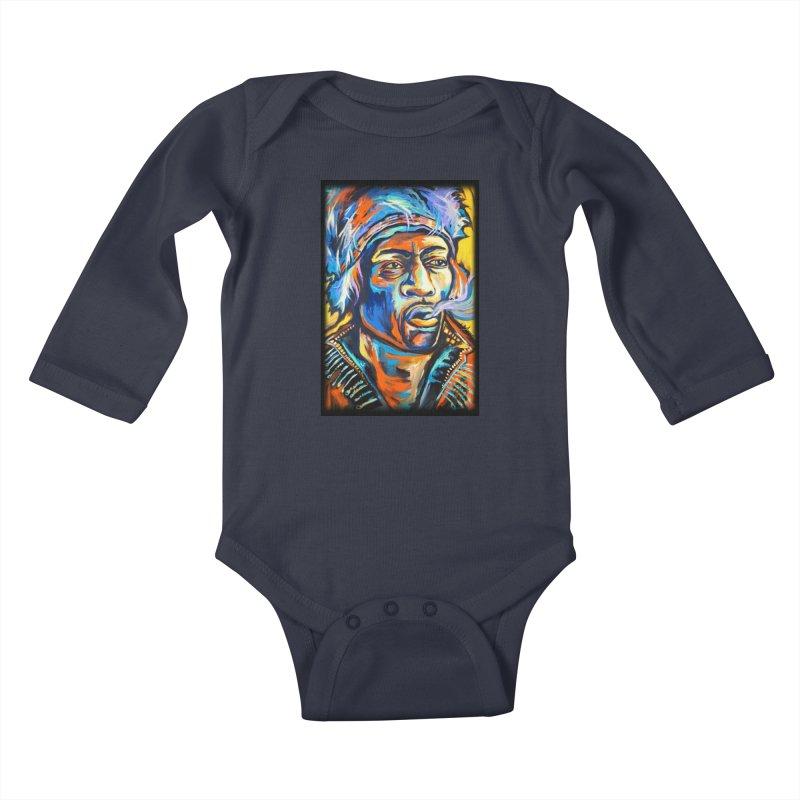 Jimi Hendrix Kids Baby Longsleeve Bodysuit by amybelonio's Artist Shop