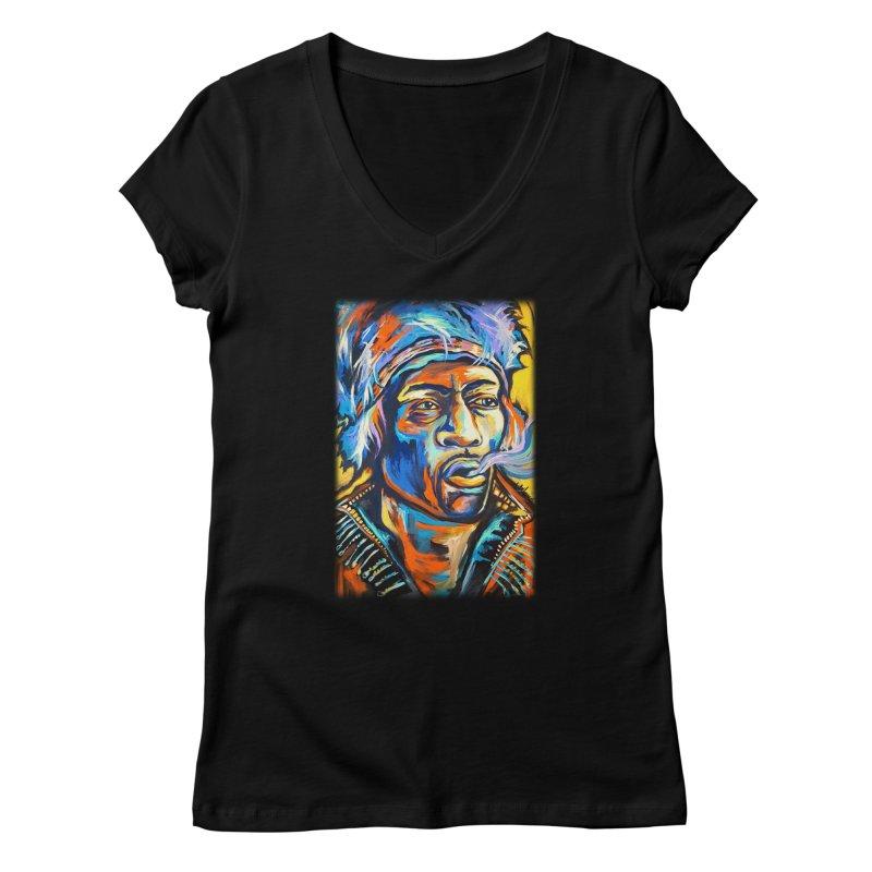 Jimi Hendrix Women's V-Neck by amybelonio's Artist Shop