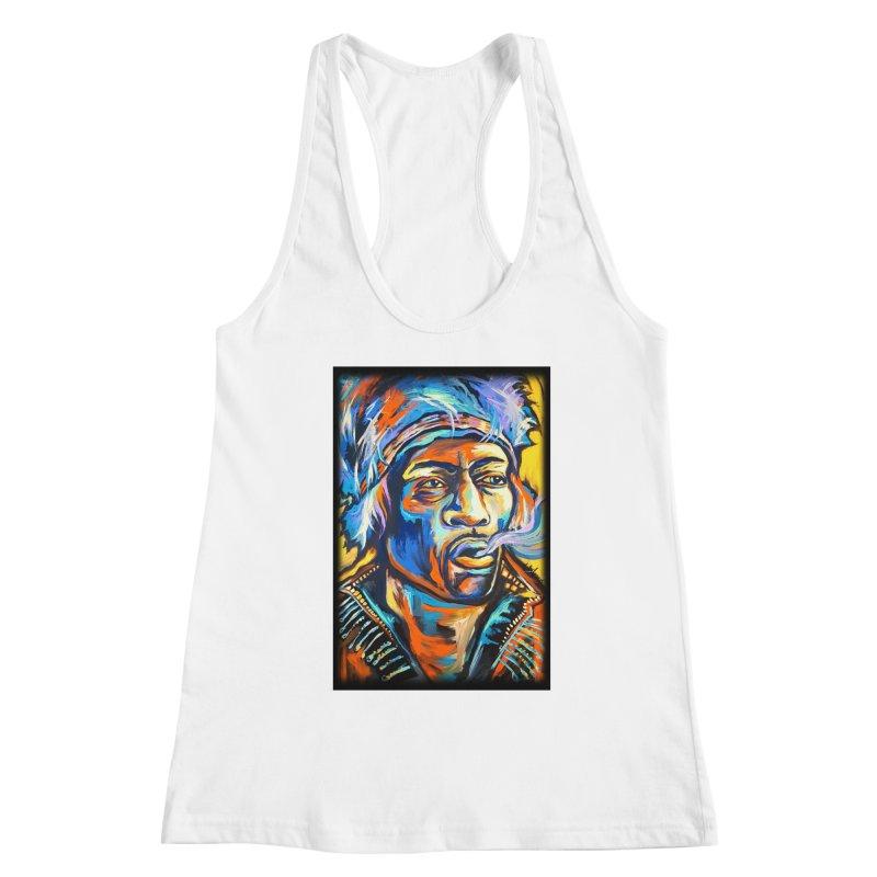 Jimi Hendrix Women's Racerback Tank by amybelonio's Artist Shop