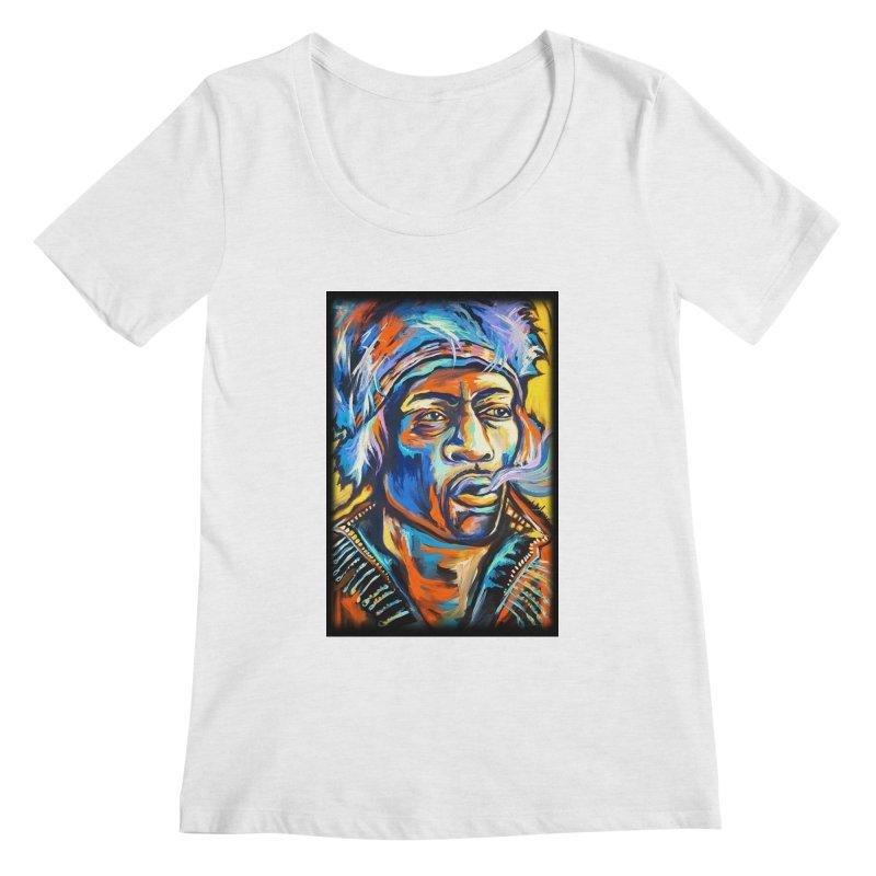 Jimi Hendrix Women's Regular Scoop Neck by amybelonio's Artist Shop