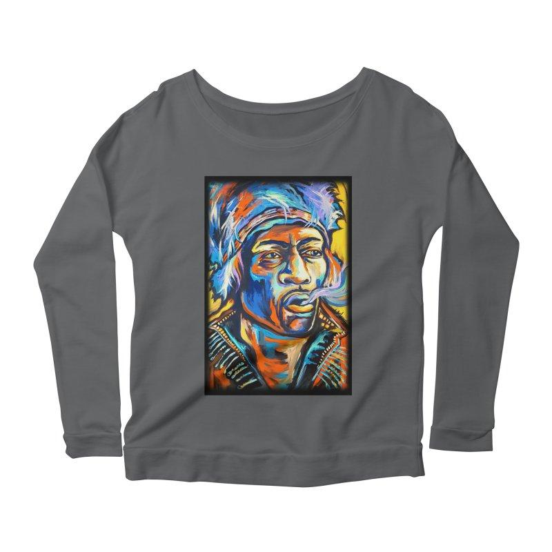 Jimi Hendrix Women's Scoop Neck Longsleeve T-Shirt by amybelonio's Artist Shop