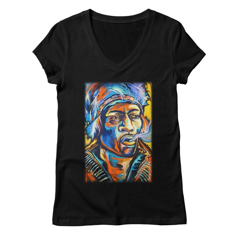 Jimi Hendrix Women's Regular V-Neck by amybelonio's Artist Shop