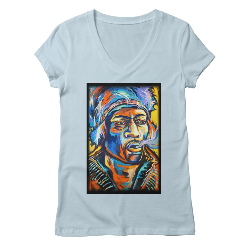 Jimi Hendrix Women's Regular V-Neck by amybelonio's Artist Shop
