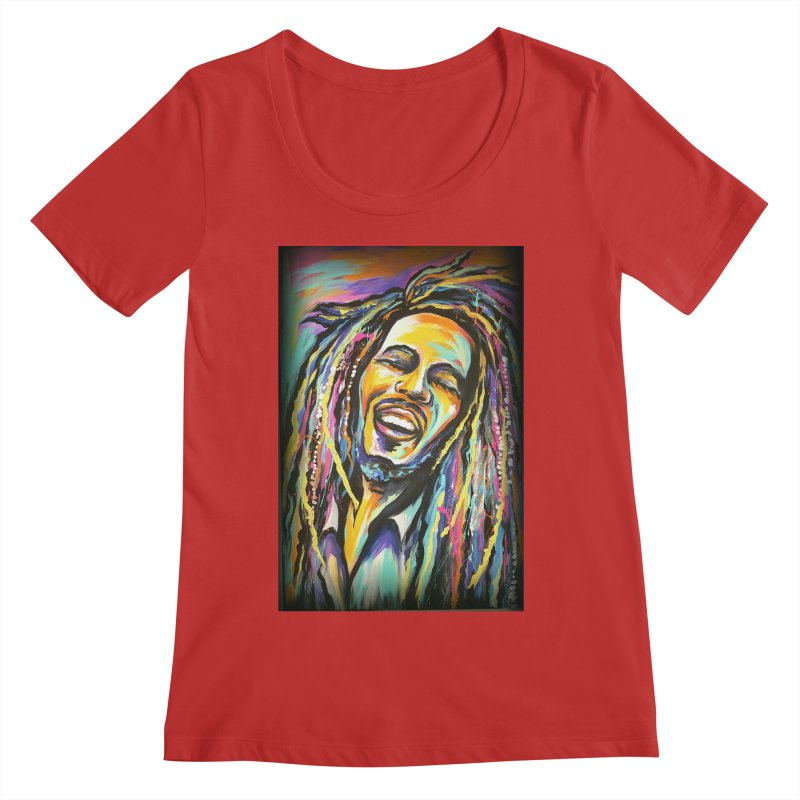 Bob Marley Women's Regular Scoop Neck by amybelonio's Artist Shop