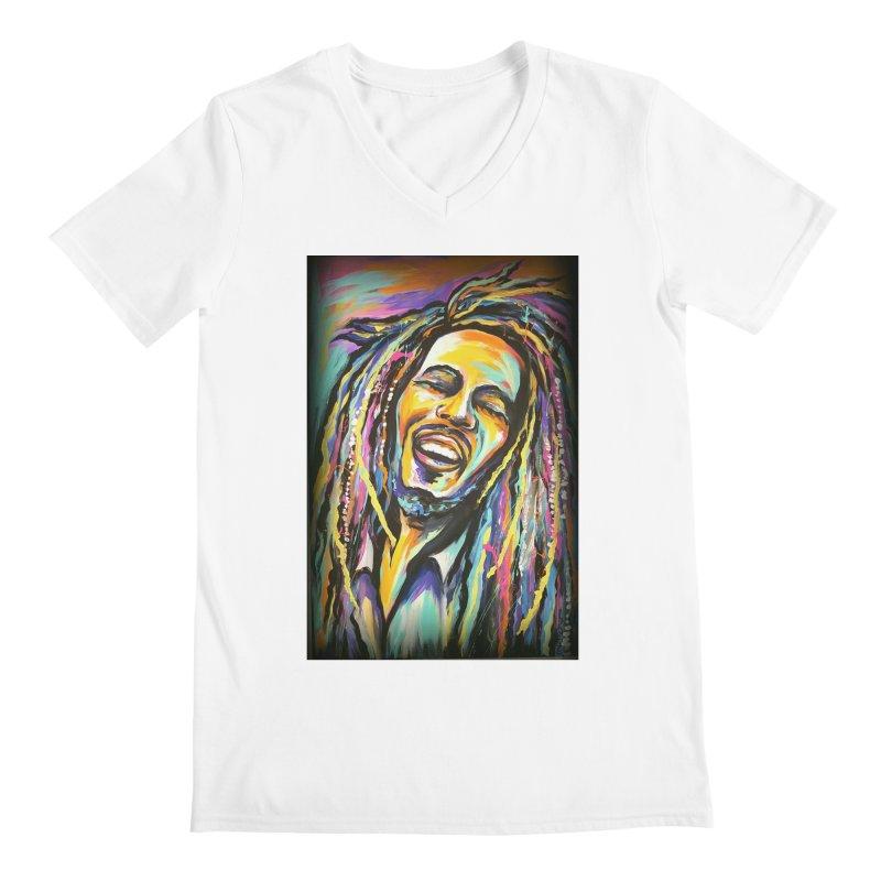 Bob Marley Men's Regular V-Neck by amybelonio's Artist Shop