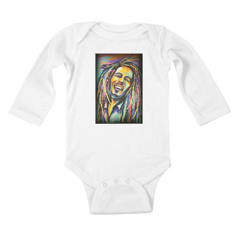 Bob Marley Kids Baby Longsleeve Bodysuit by amybelonio's Artist Shop