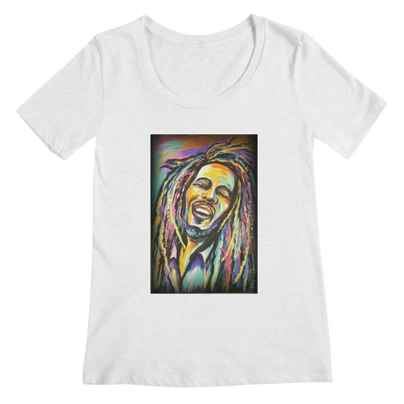 Bob Marley Women's Regular Scoop Neck by amybelonio's Artist Shop