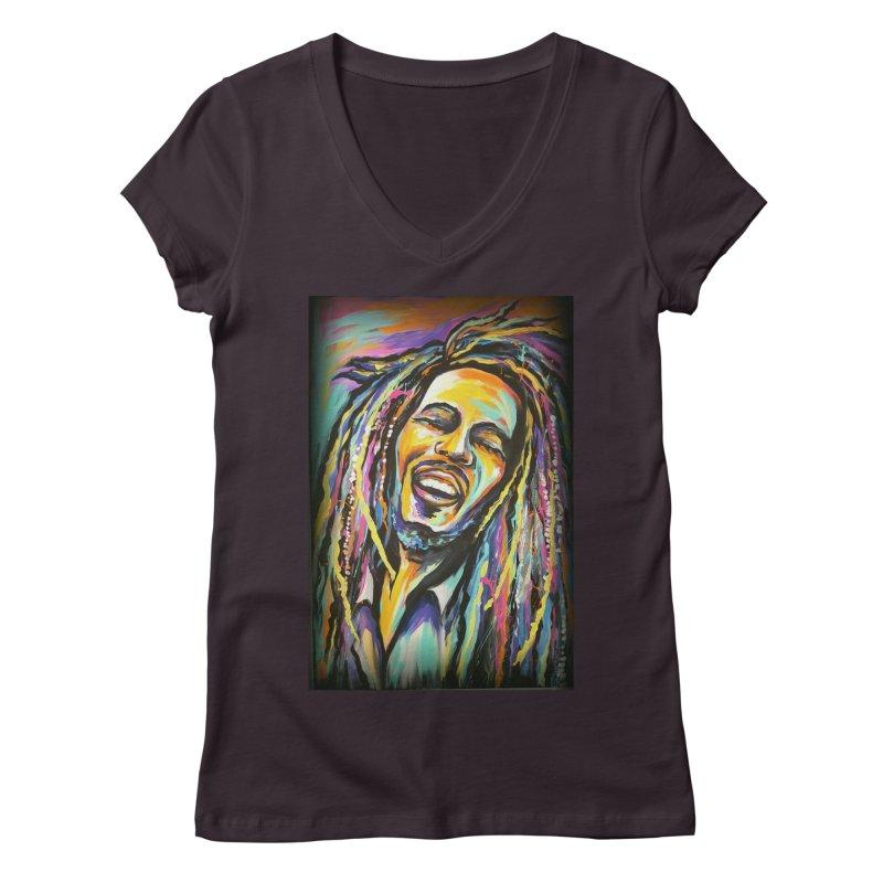 Bob Marley Women's Regular V-Neck by amybelonio's Artist Shop