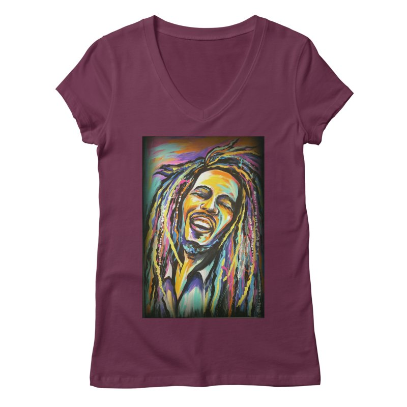 Bob Marley Women's Regular V-Neck by amybelonio's Artist Shop