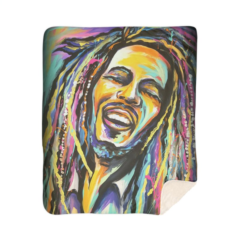 Bob Marley Home Sherpa Blanket Blanket by amybelonio's Artist Shop