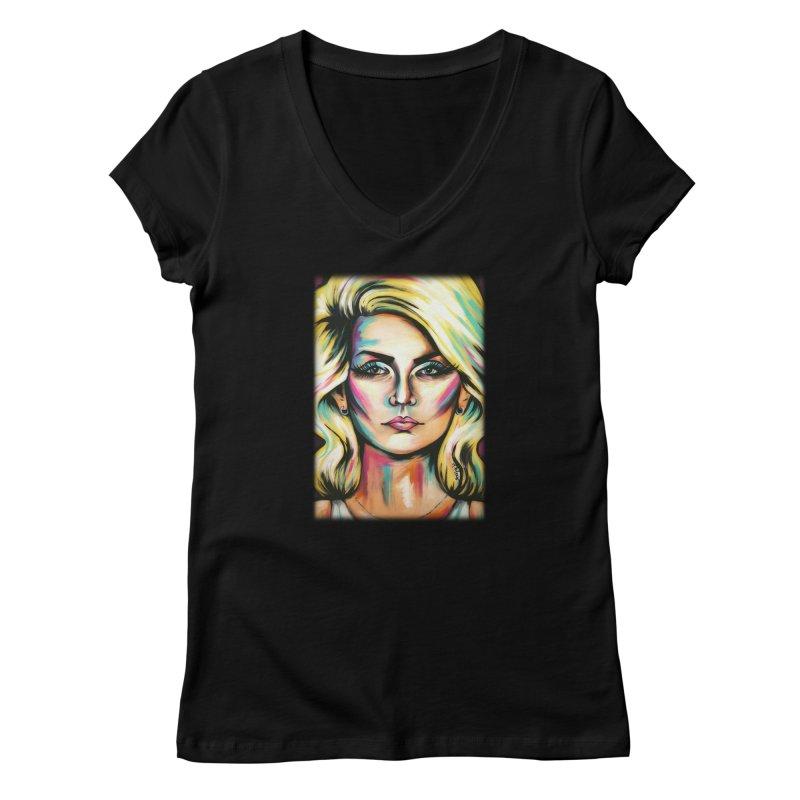 Blondie Women's V-Neck by amybelonio's Artist Shop
