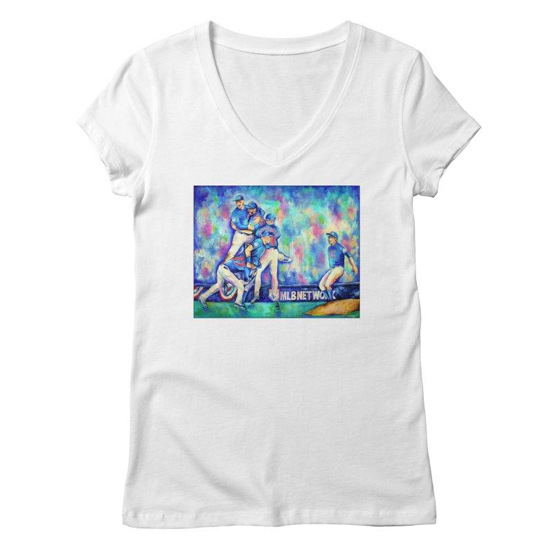 Go Cubs Go Women's Regular V-Neck by amybelonio's Artist Shop