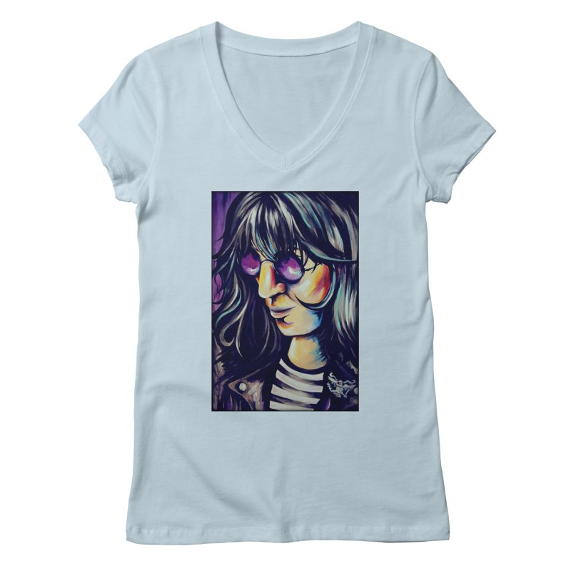 Joey Ramone Women's Regular V-Neck by amybelonio's Artist Shop