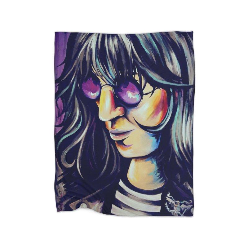 Joey Ramone Home Fleece Blanket Blanket by amybelonio's Artist Shop