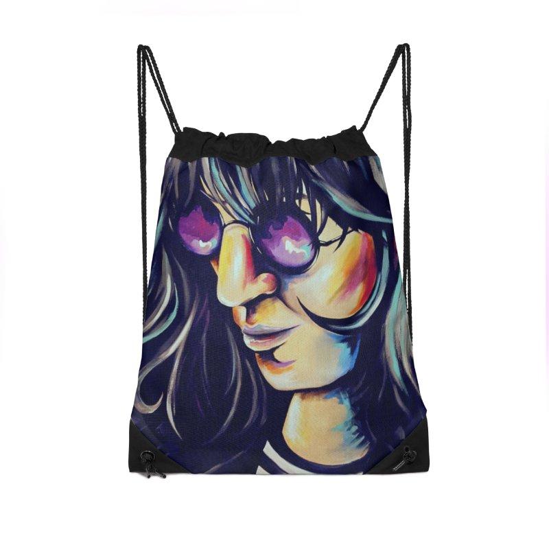 Joey Ramone Accessories Drawstring Bag Bag by amybelonio's Artist Shop