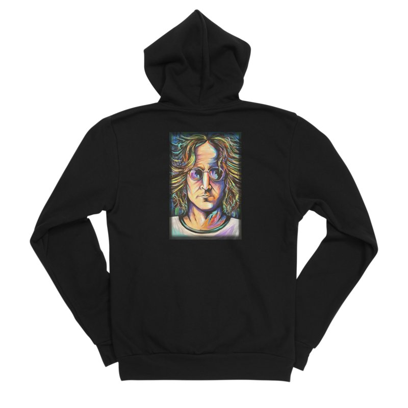 John Lennon Women's Sponge Fleece Zip-Up Hoody by amybelonio's Artist Shop