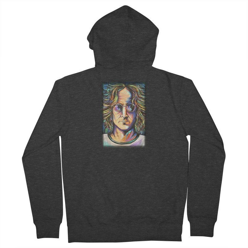 John Lennon Men's French Terry Zip-Up Hoody by amybelonio's Artist Shop