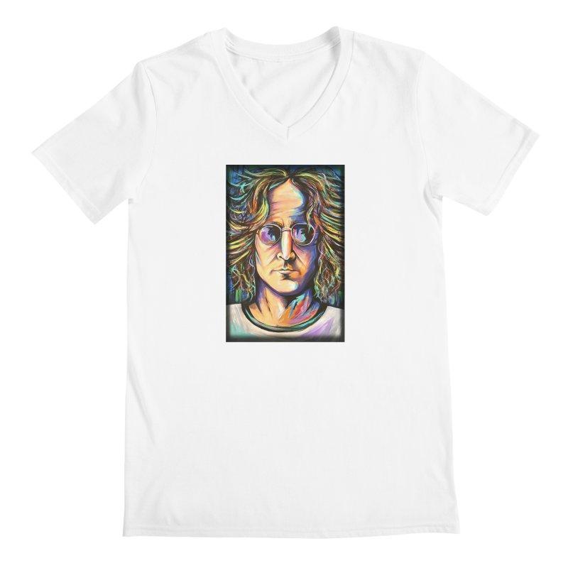 John Lennon Men's V-Neck by amybelonio's Artist Shop