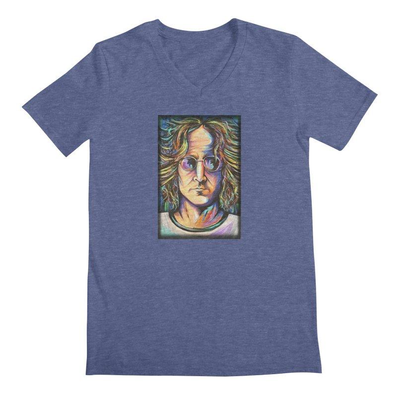 John Lennon Men's Regular V-Neck by amybelonio's Artist Shop