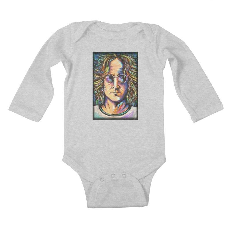 John Lennon Kids Baby Longsleeve Bodysuit by amybelonio's Artist Shop