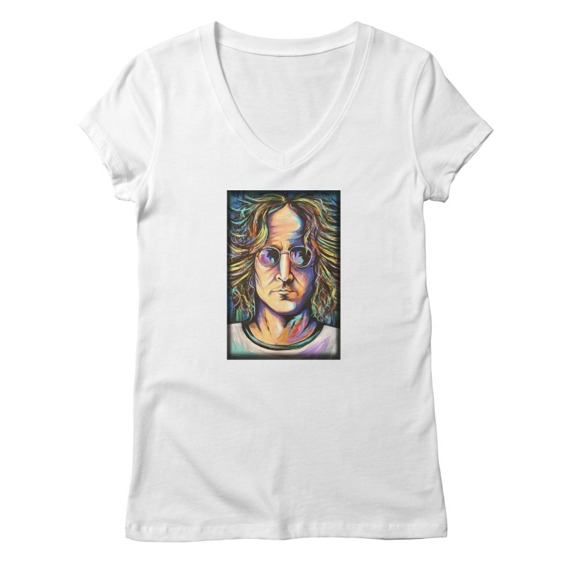 John Lennon Women's V-Neck by amybelonio's Artist Shop