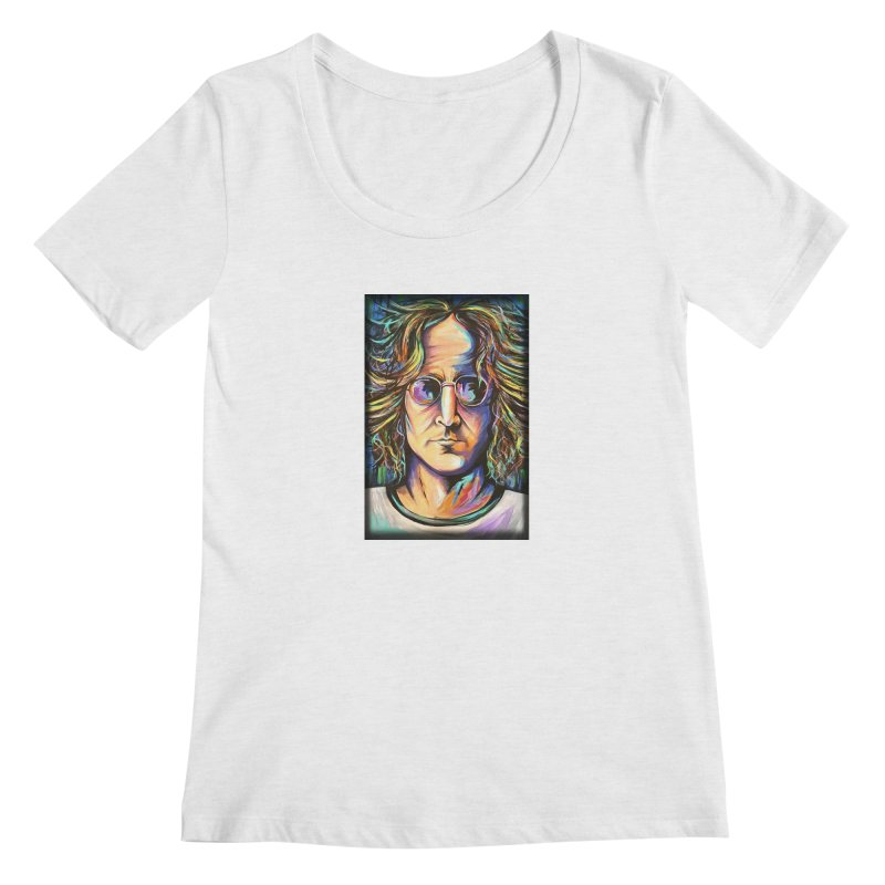 John Lennon Women's Regular Scoop Neck by amybelonio's Artist Shop