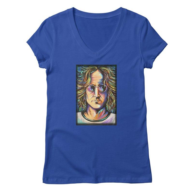 John Lennon Women's Regular V-Neck by amybelonio's Artist Shop