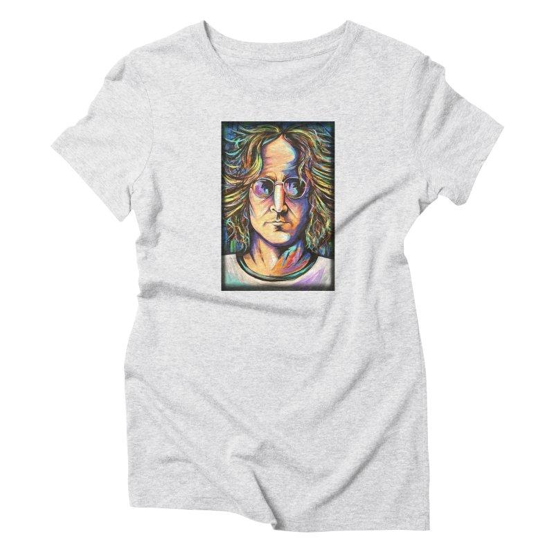 John Lennon Women's Triblend T-Shirt by amybelonio's Artist Shop