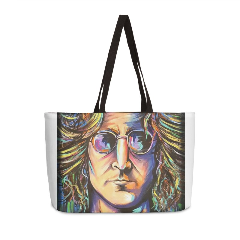 John Lennon Accessories Weekender Bag Bag by amybelonio's Artist Shop