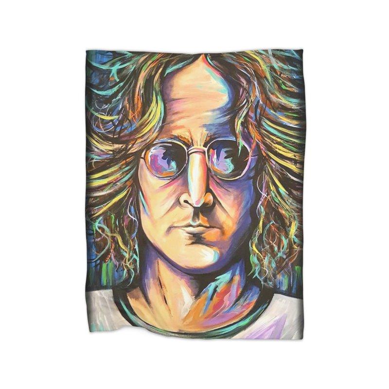 John Lennon Home Fleece Blanket Blanket by amybelonio's Artist Shop