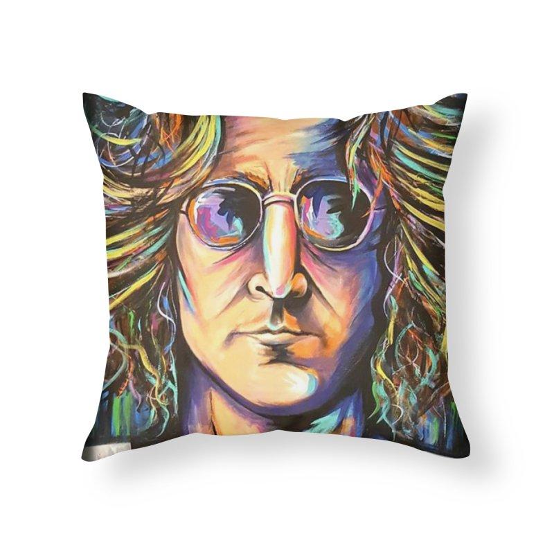 John Lennon Home Throw Pillow by amybelonio's Artist Shop