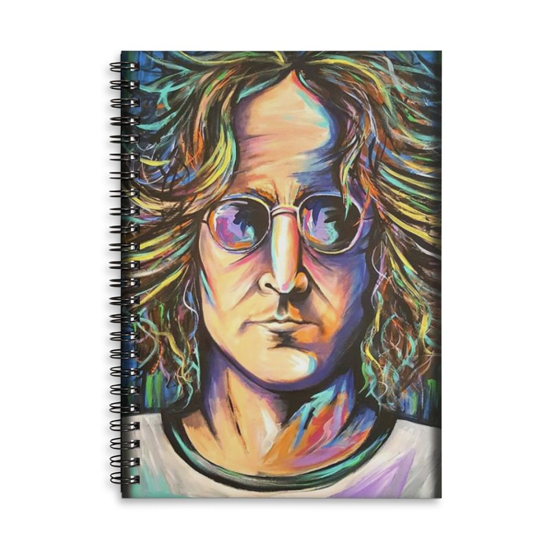 John Lennon Accessories Lined Spiral Notebook by amybelonio's Artist Shop