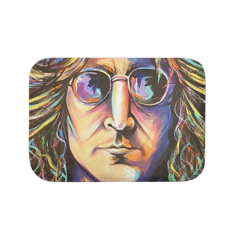 John Lennon Home Bath Mat by amybelonio's Artist Shop