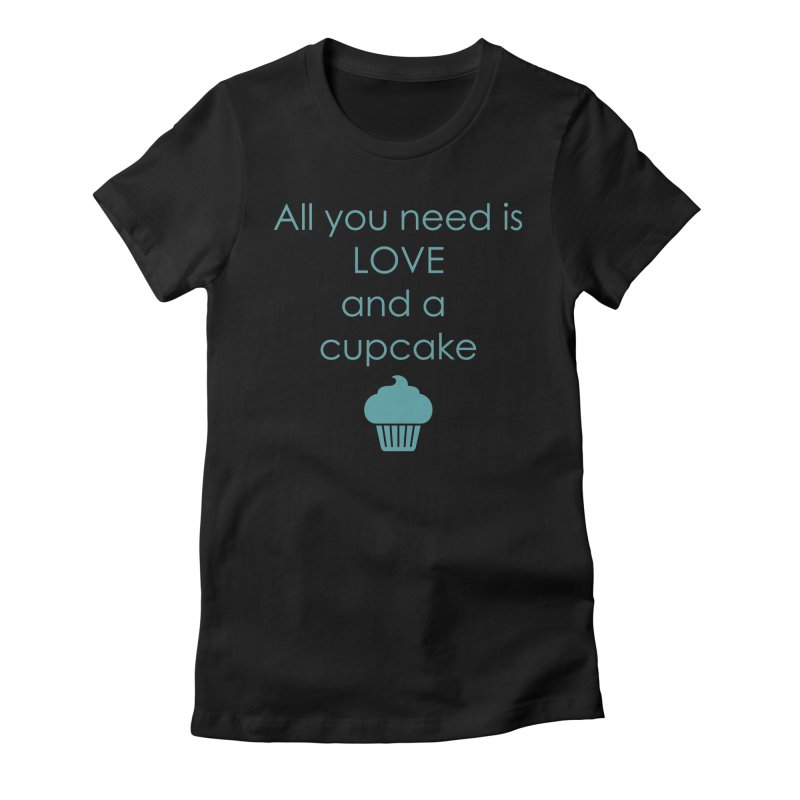 Love & Cupcake Women's Fitted T-Shirt by Amy's Cupcake Shoppe Artist Shop