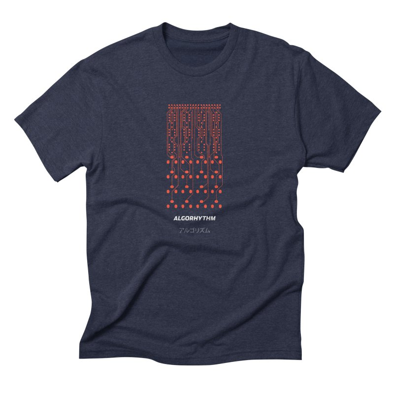 Grayscale Algorhythm PCB (red) in Men's Triblend T-Shirt Navy by Grayscale
