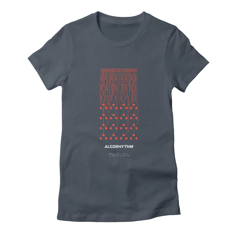 Grayscale Algorhythm PCB (red) Women's Fitted T-Shirt by Grayscale