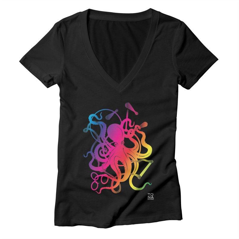 Rainbow Circus Octopus! Women's V-Neck by Anapalana by Tona Williams Artist Shop