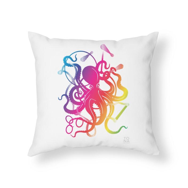 Rainbow Circus Octopus! Home Throw Pillow by Anapalana by Tona Williams Artist Shop