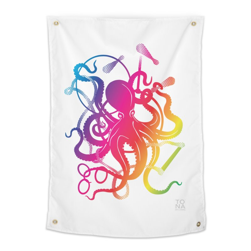 Rainbow Circus Octopus! Home Tapestry by Anapalana by Tona Williams Artist Shop