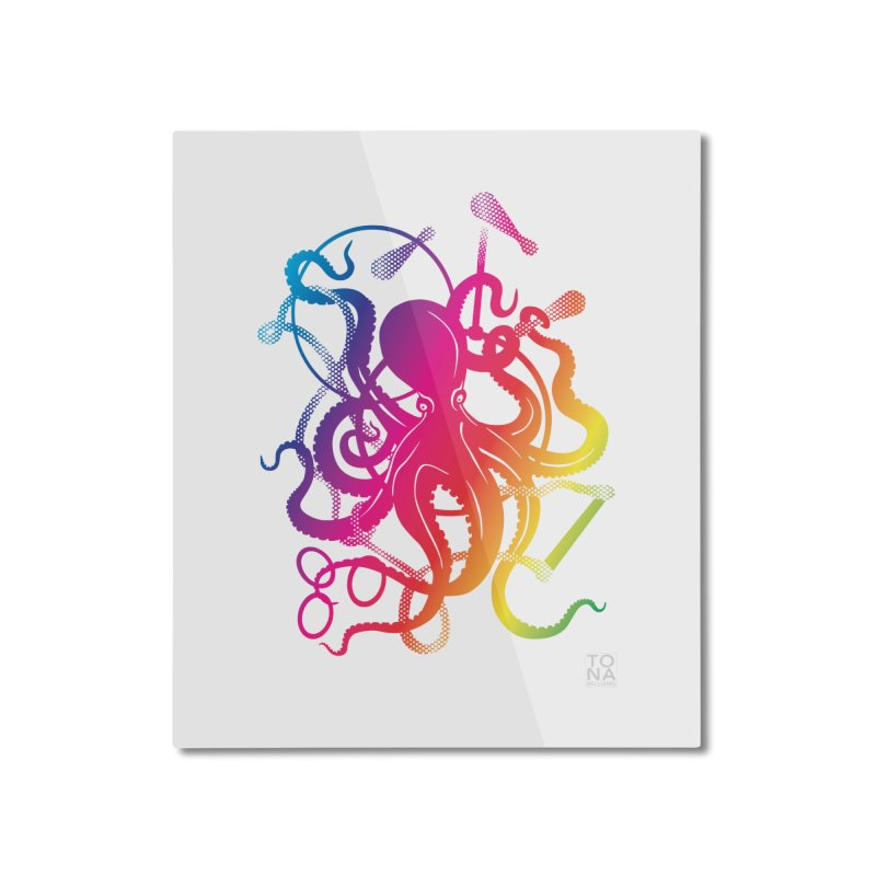 Rainbow Circus Octopus! Home Mounted Aluminum Print by Anapalana by Tona Williams Artist Shop