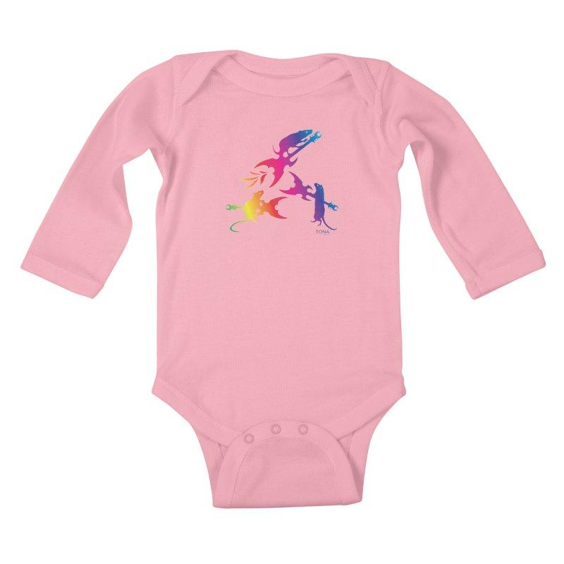 Rainbow Metal Rats Kids Baby Longsleeve Bodysuit by Anapalana by Tona Williams Artist Shop